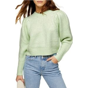 TopShop Pleated Sleeve Sweater Pastel Green [A13]